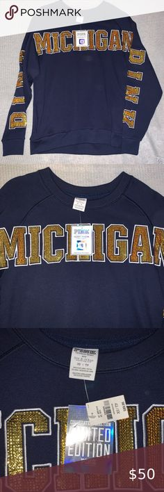 MICHIGAN WOLVERINES WOMENS 100/% COTTON RHINESTONE T SHIRT NAVY NEW WITH TAGS NWT