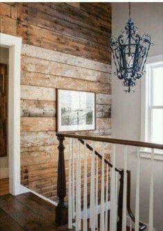 Wonderful raw wood shiplap wall.