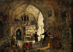 An Alchemist in His Laboratory, oil on wood by Jemes Nasmyth, British, 1808-1890.