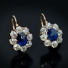 62a7f6d2cf60 Antique Cabochon Sapphire Diamond Cluster Earrings - Antique Jewelry