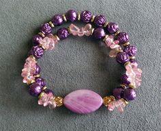 "Double-Strand Stretch Bracelet, Pink and Purple, 7""…"