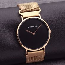Japan Quartz Luxury Black Simple Minimalist Watch Women Rose Gold Thin Mesh Stainless Steel Magnet Band Waterproof Antibrittle(China)