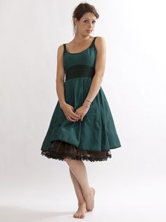 Ocean blue dress w/ brown petticoat