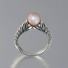 EDELWEISS+14K+gold+engagement+ring+with+Pink+Pearl+by+WingedLion