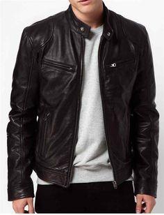 Men black Leather jacket, real leather biker jacket