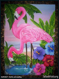 Flamingos Arcylic on Canvas Flamingo Painting, Flamingo Decor, Pink Flamingos, Tropical Birds, Tropical Art, Tropical Flowers, Pretty Birds, Beautiful Birds, Fabric Painting