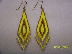 Yellow and gold bugle and seed bead brick stitch earrings