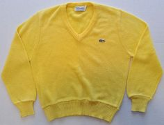 Vintage 1060's Haymaker Lacoste V-Neck Knit Sweater Top Yellow Size 40 EU/10  #Lacoste #Sweater