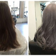 Transformation Saturday!  We turned a beautiful brunette into a Silver Queen  With 2 bleaching processes using Olaplex is a must!! Now this client has the colour she wants but with healthy non-damaged hair.  #OLAPLEX #olaplexportugal  #transformation #sexysaturday #saturday #happyclient #silverqueen #grayhair #gray