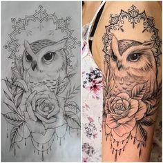 Cute Owl Tattoo, Cute Tattoos, Flower Tattoos, Owl Thigh Tattoos, Hand Tattoos, Owl Tattoo Drawings, Art Drawings Sketches, Owl Tattoo Design, Tattoo Designs
