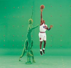 Michael Jordan on the green screen on the set of Space Jam