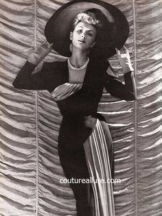 October 1946 - Jacques Fath couture draped crepe dress in two tones of grey