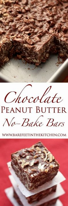 No-bake chocolate peanut butter coconut bites - a fast, healthy and super-easy snack full of delicacies. No-bake chocolate peanut butter coconut bites - a fast, healthy and super-easy snack full of delicacies. No Bake Treats, No Bake Cookies, No Bake Desserts, Just Desserts, Cookies Et Biscuits, Delicious Desserts, Bar Cookies, Cookie Bars, Baking Cookies