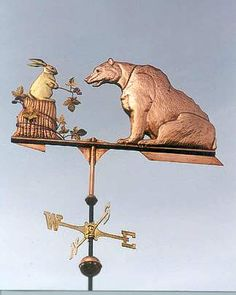 Bear with Bunny Weather Vane by West Coast Weather Vanes.  This Bear with Bunny Weathervane was created in copper, brass and gold leafing.  The details of the bear's fur and the bunny's tree stump are enhanced with distinct tooling.  Glass eyes give them both a realistic look, particularly when the sun glints through them.