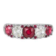 1910s Tiffany & Co. Ruby Diamond Band Ring