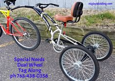 3 wheel tag along bicycles. Custom Made www.HigleyWelding.com