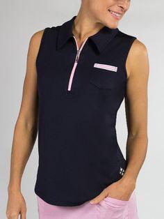 07b42c24d33589 CLEARANCE Ladies Sleeveless Pocket Golf Polo Shirts - Bellini (Midnight  Navy)