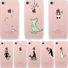 Phone cases cute animals Spoof crocodile Cat panda penguin soft clear silicon Case Cover for Apple iPhone 7 7plus 5S SE 6 6plus