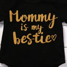 "Baby Girls Short Sleeve""Mommy is My bestie"" Bodysuit Romper headband 7036M Black *** Details can be found by clicking on the image. (This is an affiliate link) #BabyGirlClothesCollection"