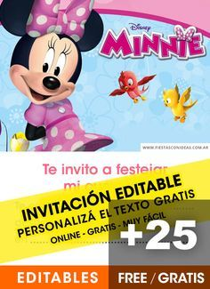 25 Tarjetas De Cumpleanos De Minnie Mouse Gratis Para Editar