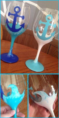 """Anchors in the Sea"" themed anniversary hand painted wine glasses created my… Diy Wine Glasses, Hand Painted Wine Glasses, Painted Wine Bottles, Wine Glass Crafts, Wine Craft, Wine Bottle Crafts, Paint And Drink, Wine Glass Designs, Jar Art"