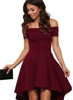 5fcc8b69993 Off Shoulder Party Dresses Burgundy Blue Midi Dress – Lilacoo Graduation  Dress College Classy