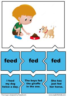 eglish for young learners irregular verbs activity verb feed Verbs For Kids, All Verbs, Grammar And Vocabulary, Vocabulary Cards, English Lessons, Learn English, English Uk, English Class, English Activities