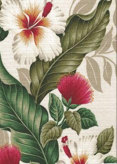 Umeke - Barkcloth Hawaii - Timeless Hawaiian Fabrics For your Home & Tropical Botanical Vintage Hawaiian Fabric Hawaiian Panel. Realistically rendered hibiscus and lehua flowers, ferns and leaves. Tropical Fabric, Tropical Pattern, Tropical Flowers, Tropical Prints, Tropical Leaves, Hawaiian Art, Vintage Hawaiian, Flower Prints, Flower Art