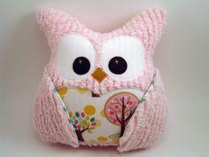 Plush Owl Pillow - Pink chenille - tree fabric