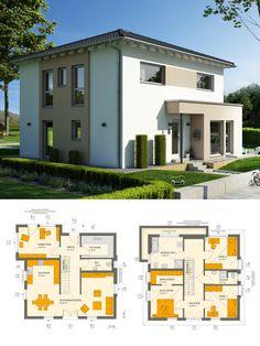 Modernes Einfamilienhaus Mit Galerie U0026 Walmdach Architektur   Stadtvilla  Bauen Grundriss Ideen Fertighaus Sunshine 154 V6