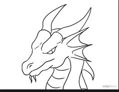dragon drawing simple easy draw drawings head fire coming chinese basic tattoo cartoon fantasy shapes way