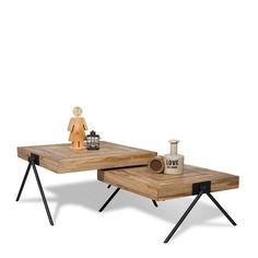 De coffeetable Square van By-Boo is gemaakt van mangohout. Het blad bestaat uit kleine stukje ingelegd hout en heeft trendy zwart metalen V-pootjes. De Square salontafel is leverbaar in 2 verschillende afmetingen (70x70 en 80x80 cm). Doordat de ene variant hoger is dan de andere, kunnen de tafels over elkaar heen geschoven worden. Zo ontstaat een mooie handige set Afmeting: DxBxH = 80x80x40 cm