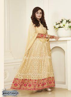 Splendiferous Cream Coloured Net Anarkali Salwar Suit