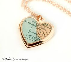 Rose Gold Heart Locket Necklace with Antique California Map, Rose Gold Chain, San Francisco, Los Angeles, Santa Barbara, Gift for Her
