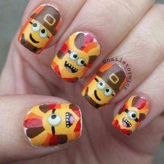 26 thanksgiving nail art designs - ideas for november nails Thanksgiving Nail Designs, Thanksgiving Nails, Happy Thanksgiving, Thanksgiving Turkey, Fall Nail Art Designs, Cute Nail Designs, Minion Nail Art, So Nails, November Nails