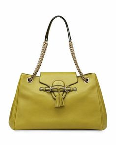 Emily Large Leather Shoulder Bag, Chartreuse Green by Gucci at Neiman Marcus.