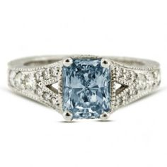 Radiant Cut Blue Diamond Engagement Ring - Unusual Engagement Rings Review