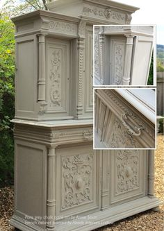 Heavily carved Antique French cabinet painted in Annie Sloan Paris grey chalk paint