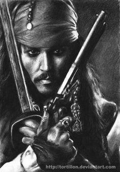 Johnny Depp as Jack Sparrow Pencil Art, Pencil Drawings, Charcoal Drawings, Tori Tori, Johny Depp, Pencil Drawing Tutorials, Desenho Tattoo, Celebrity Drawings, Captain Jack