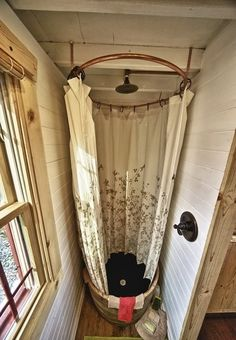 Shower Idea with circular tub maybe with tin for sides?