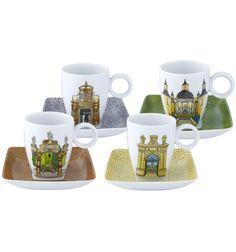 Vista Alegre - Alma de Coimbra - Set 4 Coffee Cups & Saucers
