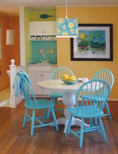 House of Turquoise: Maine Cottage Giveaway! Painted Dining Chairs, Painted Kitchen Tables, Windsor Dining Chairs, Table And Chairs, Blue Chairs, White Chairs, Lounge Chairs, Room Chairs, House Of Turquoise