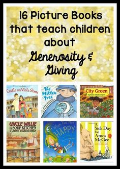 The Giving Project - Picture books for teaching kids about generosity and giving! Some books teach about giving tangible items, others about giving help or kind words, and others about giving back to the community. PERFECT for the holidays! Kids Reading, Teaching Reading, Teaching Kids, Reading Books, Reading Lists, Good Books, Books To Read, My Books, Music Books