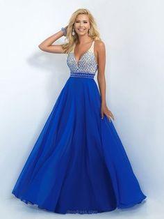 V-neck Royal Blue Chiffon Open Back Beading Sweep Train Prom Dresses -$238.39