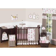 Sweet Jojo Designs 11pc Elephant Crib Set - Pink Pink and Gray elephants