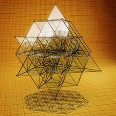 when you pass Light thru a 64 Tetrahedron/ 3D Sri Yantra/Alternating Merkaba/Vector Equilibrium Thingie consisting only of straight lines it casts a shadow of the Flower of Life consisting only of Curves