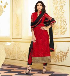 SHILPA SHETTY'S SIMPLE RED AND BLACK SALWAR DESIGNS PAKISTANI SHALWAR KAMEEZ DESIGN 2015 STYLE WITH LIGHT EMBROIDERY WORK