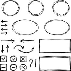 Set of hand drawn elements for selecting text. Overlays Tumblr, Text Bubble, Bts Texts, Drawing Activities, Overlays Picsart, Text Overlay, Tumblr Stickers, Cover Template, Illustrations