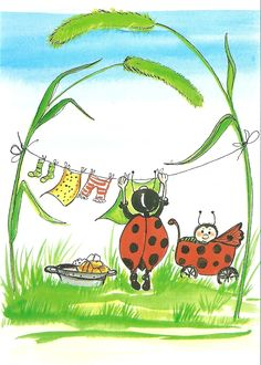 Postcrossing postcard from Finland Illustration Mignonne, Cute Illustration, Fantasy Character, Fairy Drawings, Ladybug Art, Happy Paintings, Little Critter, Rock Art, Clipart