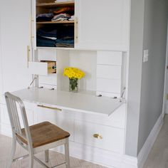 Superb Fold Down Desk look New York Contemporary Bedroom Image Ideas with Bedroom BROOKLYN brownstone closet custom desk hidden drawers white Desk In Living Room, Bedroom Desk, Closet Bedroom, Ikea Closet, Hidden Desk, Built In Desk, Home Office Setup, Home Office Design, Office In A Closet